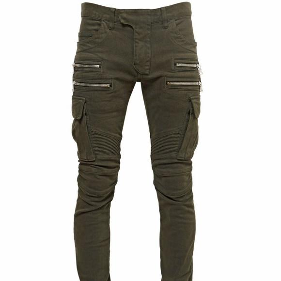 2895b3d4 Balmain Other - Balmain Khaki Green Cotton Cargo Biker Denim Jeans